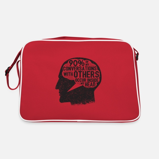 Birthday Bags & Backpacks - 90% Of My Conversations Introverts Gift - Retro Bag red/white