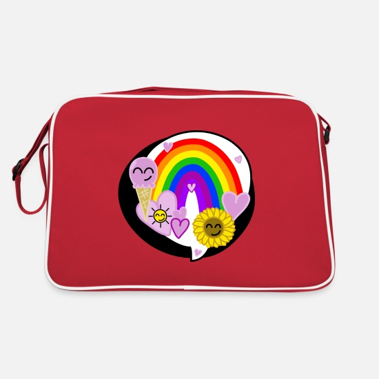 Rainbow Bags & Backpacks - Rainbow Happiness - Retro Bag red/white