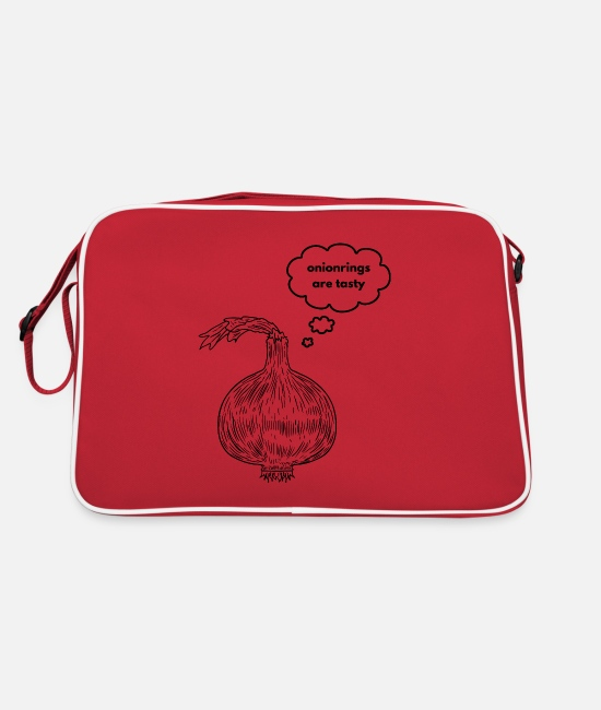 Vegetables Bags & Backpacks - funny onion reflects on onion rings - Retro Bag red/white