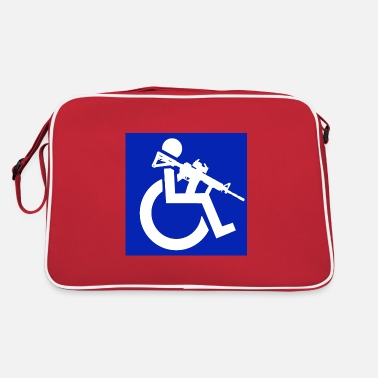 Disabled Image of a wheelchair user with rifle - Retro Bag