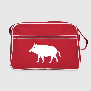pig wild boar hog - Retro Bag