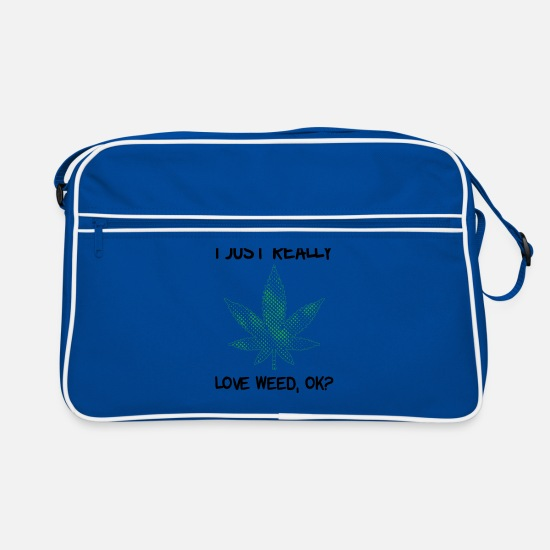 Birthday Bags & Backpacks - I just really love weed, OK? leaf - Retro Bag blue/white
