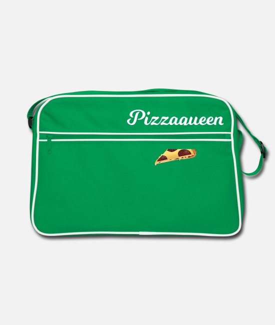 Pizza Bags & Backpacks - Pizza - Gift - Salami Pizza Pizzeria Pizza Queen - Retro Bag kelly green/white