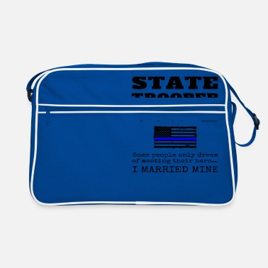 Di Trooper Statali Orgoglioso Moglie Of State Trooper Gift Thin Blue Line - Borsa retrò