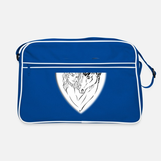 Tenderness Bags & Backpacks - Horse passion complicity tenderness heart - Retro Bag blue/white