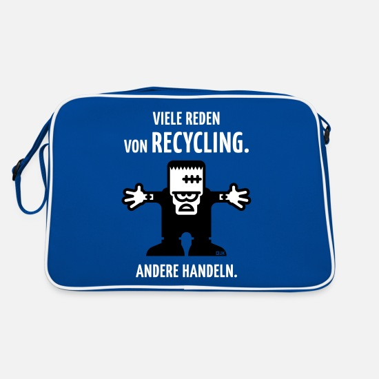Frankenstein Bags & Backpacks - Many speeches about recycling. Other action. (2C) - Retro Bag blue/white