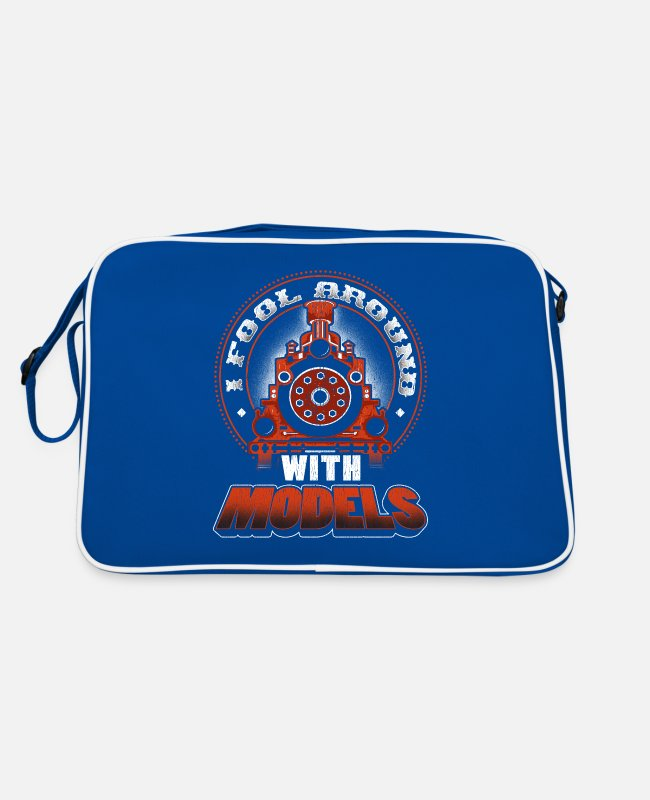 Training Bags & Backpacks - Train Hobbyist Fool Around With Models Train - Retro Bag blue/white