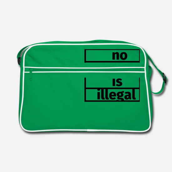 Antifa Bolsas y mochilas - No One is Illegal - Bolsa retro verde/blanco