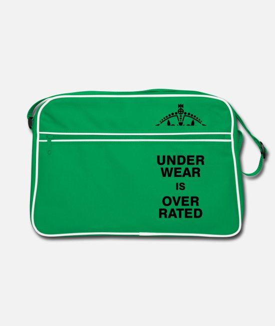 Keep Calm Bags & Backpacks - Underwear is overrated - Retro Bag kelly green/white