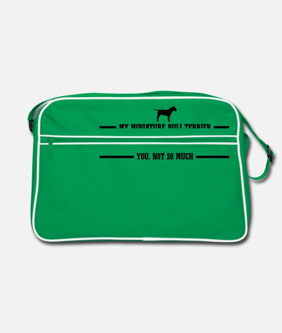 Dog Owner Bags & Backpacks - MINIATURE BULL TERRIER makes me happy - Retro Bag kelly green/white