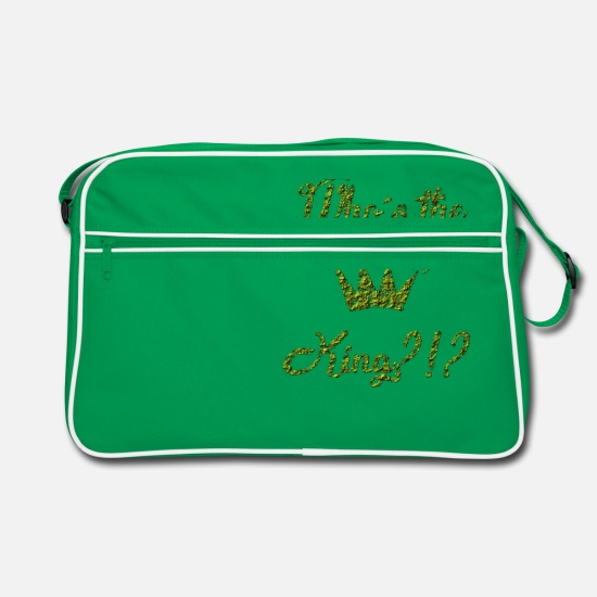 Jewelry Bags & Backpacks - Who is the King ?! Who is the king ?! Crown - Retro Bag kelly green/white