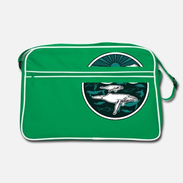 Long Humpback whale family marine animals sun ocean sea 2 - Retro Bag