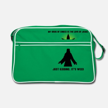 Cannabis Jesus Smokes Joint Gift Idea Weed grass drugs - Retro Bag