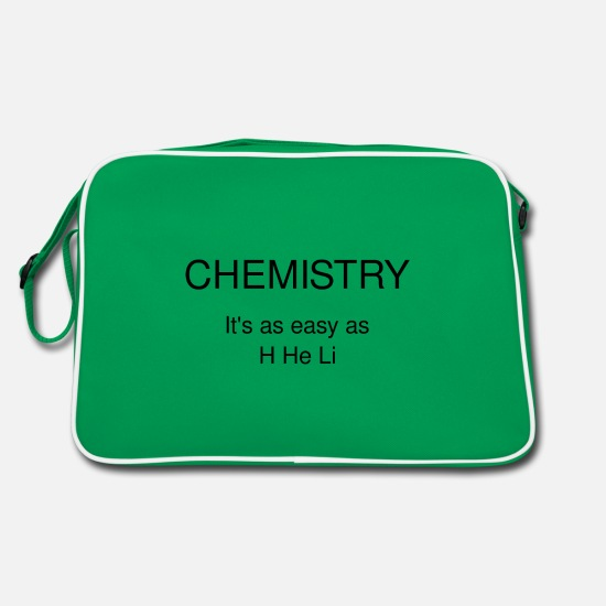 Chemistry Bags & Backpacks - Chemistry just like H He Li - Retro Bag kelly green/white