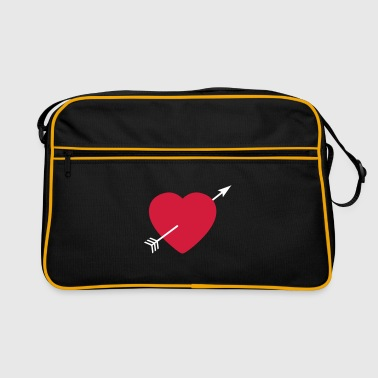 Heart round with arrow - Retro Tasche