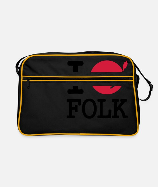 Folk Bags & Backpacks - I dj / play / listen to folk - Retro Bag black/gold