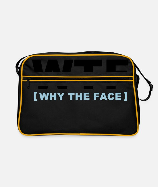 Funny Bags & Backpacks - WTF - why the face - Retro Bag black/gold