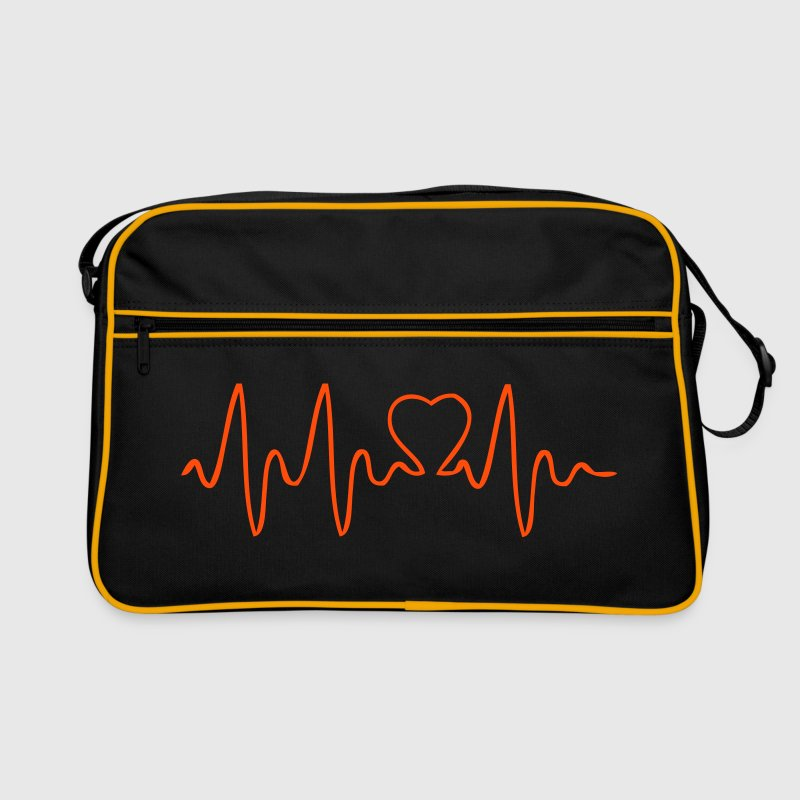 heart, LOVE, love, in love, sex, marriage, ELECTROCARDIOGRAM, EEG, hospital, physician, line, Reanimation, life, friend, friend, kiss, Herzlinie, pulse, Sexy, erotic, die erotic, lover, writer, electrical, beat, impact, heart impact  - Retro Bag