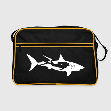 taucher hai tauchen scuba diving diver shark - Retro Tasche