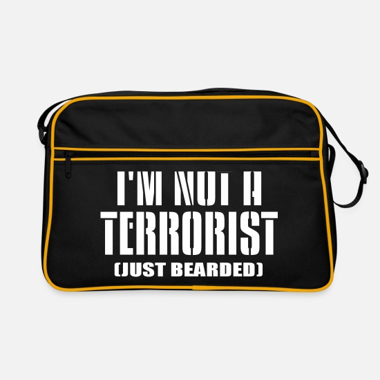 Funny Animals Bags & Backpacks - I m not a terrorist funny quote - Retro Bag black/gold