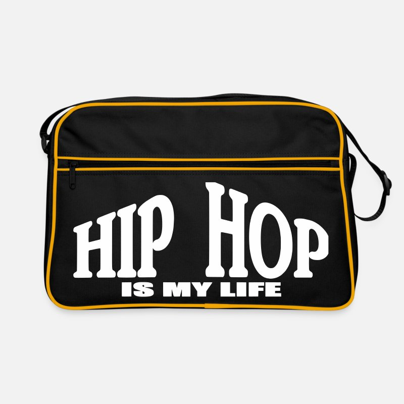 Hiphop Tassen & rugzakken - hip hop is my life - Retrotas zwart/goud geel