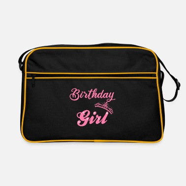 Happy Birthday Girl with Crown in Pink - Retro Bag