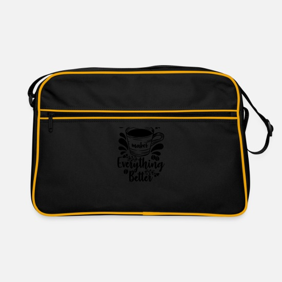 Birthday Bags & Backpacks - Coffee, coffee, monday, caffeine, caffeine - Retro Bag black/gold