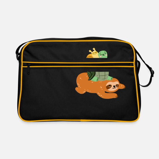 Small Bags & Backpacks - Funny turtle sloth snail - gift - Retro Bag black/gold