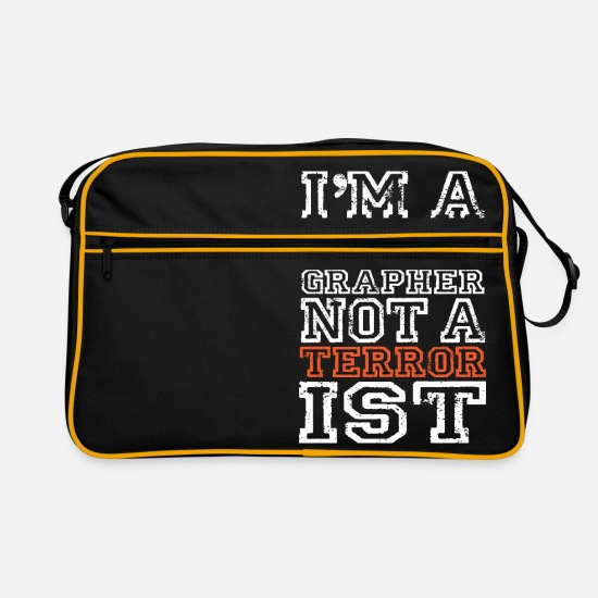 Terrorist Bags & Backpacks - im a photographer not a terrorist - Retro Bag black/gold