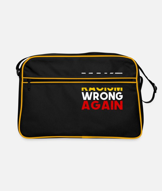 Racial Hatred Bags & Backpacks - Make Racism wrong again Against Racism Demo Motive - Retro Bag black/gold