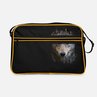 Tribal Pattern Wolf on tribal ethnic pattern texture - Retro Bag