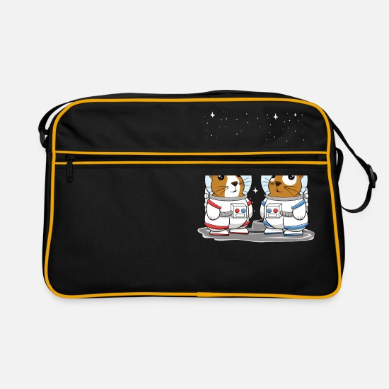 Guinea Pig Bags & Backpacks - Guinea Pig Space Astronauts for Cavy Lovers - Retro Bag black/gold