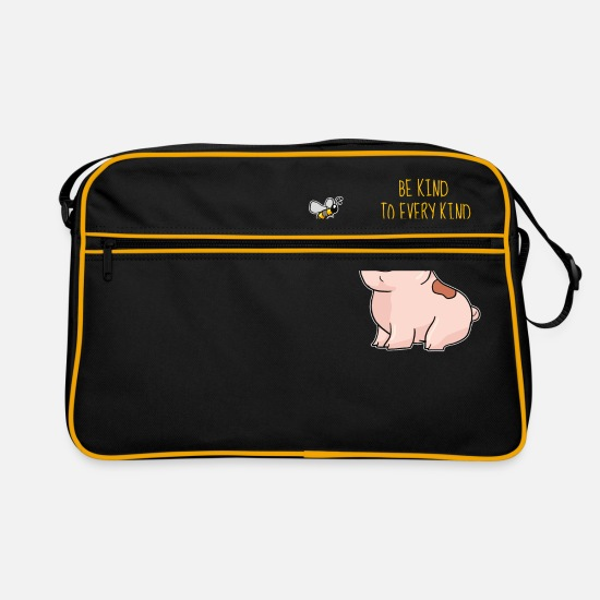 Gift Idea Bags & Backpacks - Be Kind To Every Kind Animal Love - Retro Bag black/gold