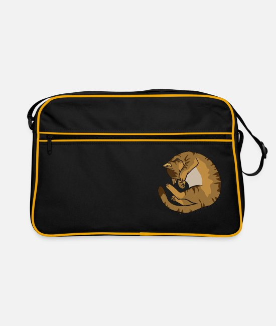 Soft Kitty Bags & Backpacks - Cat is sleeping - Retro Bag black/gold