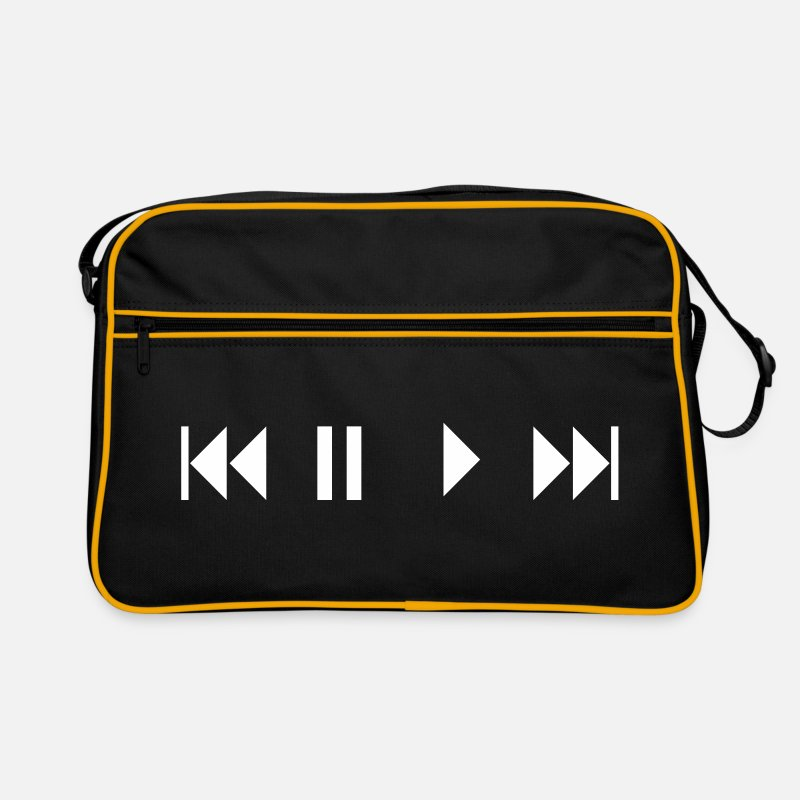 Fly Bags & Backpacks - play, STOP, break, BREAK, Repeat, forward, backward, forward, back, CD, tape, kasetten, cartridge, cartridges, Radion, more player, rendition, stop, skip, TRACK, NEXT, showing, TAP deck, record, button, key, button, switch  - Retro Bag black/gold
