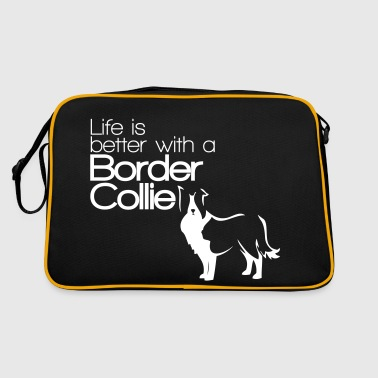 Life is better with a Border Collie - Dog Lover - Borsa retrò