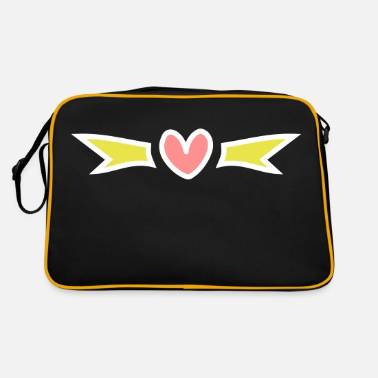 Love Bags & Backpacks - Heart decor decoration little hearts with wings - Retro Bag black/gold