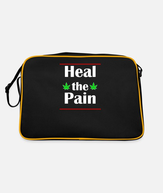 Cannabis Bags & Backpacks - HEAL the PAIN (Weed) - Retro Bag black/gold