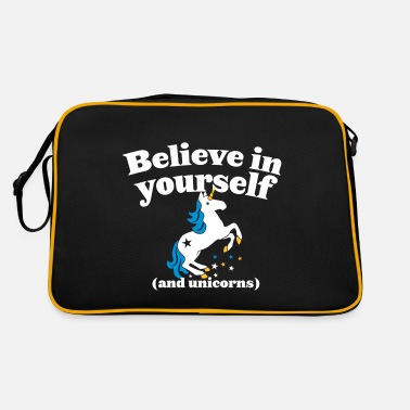 Plain Believe in yourself (and UNICORNS) plain - Retro Bag