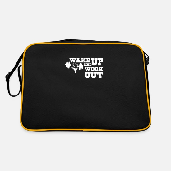 Gift Idea Bags & Backpacks - gym fitness sport muscle - Retro Bag black/gold