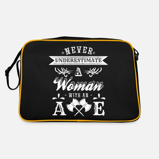 Gift Idea Bags & Backpacks - Never Underestimate A Woman Ax Hatchet Gift Woman - Retro Bag black/gold