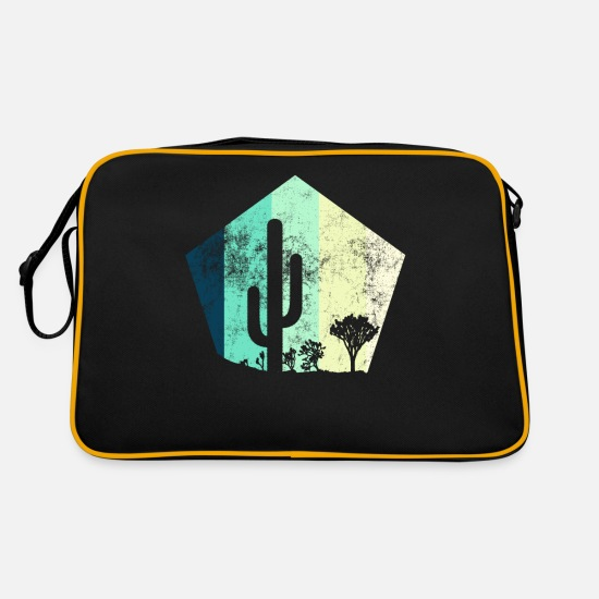 Gift Idea Bags & Backpacks - Cactus Desert Steppe Retro Grunge - Retro Bag black/gold
