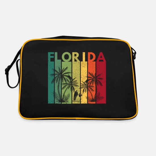 Travel Bags & Backpacks - Florida Vintage T-Shirt - Florida Travel Outfit - Retro Bag black/gold