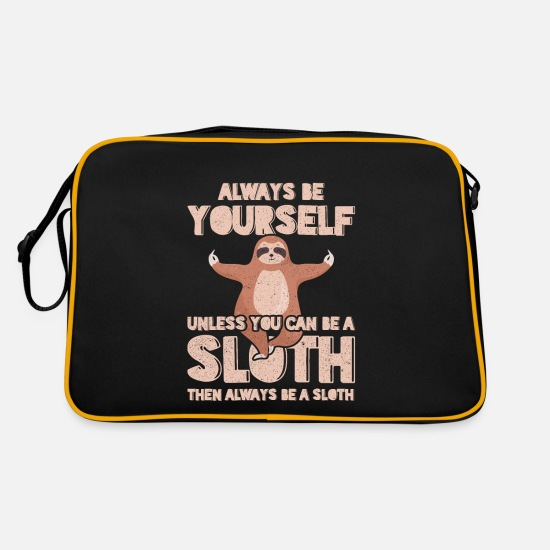 Sloth Bags & Backpacks - Be yourself a sloth child poison - Retro Bag black/gold