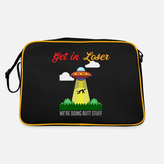 Solar System Bags & Backpacks - UFO abduction - Retro Bag black/gold