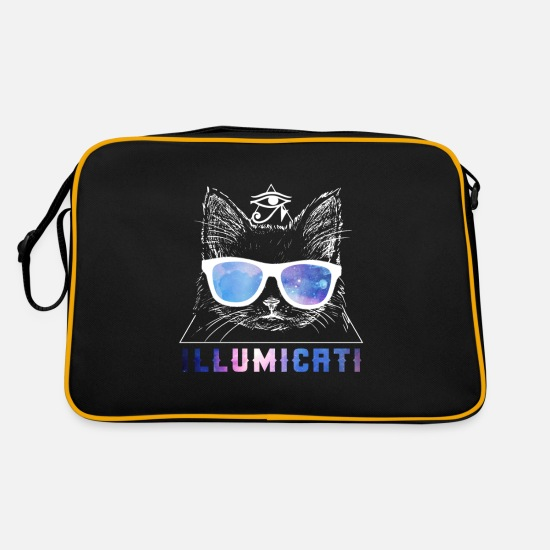 New World Order Bags & Backpacks - Illumicati All Seeing Eye Cat Word Game - Retro Bag black/gold