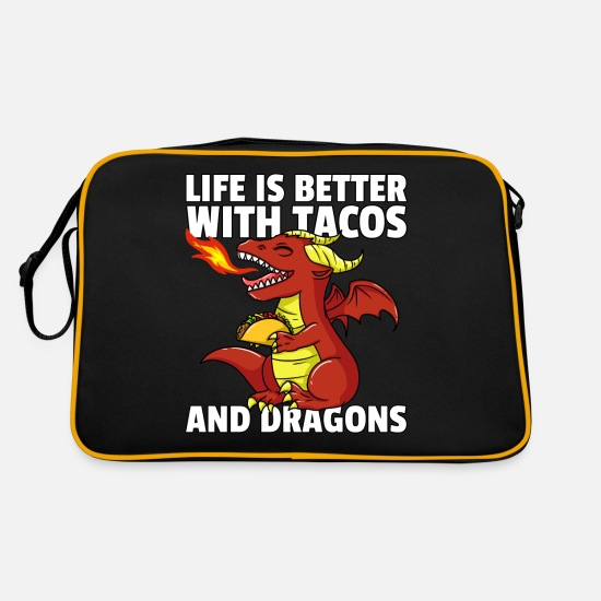 Birthday Bags & Backpacks - Taco Dragon Tortilla Mexican Mexico - Retro Bag black/gold