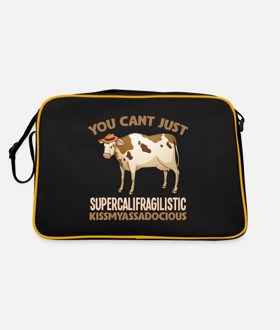 Satyr Bags & Backpacks - Sarcastic supercalifragilistic cow - Retro Bag black/gold