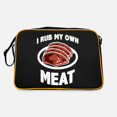 Fat Funny BBQ Chef gift | I Rub My Own Meat | Joke - Retro Bag
