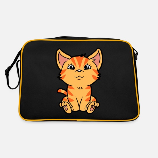 Pet Bags & Backpacks - Domestic Cat Pet Cat Cats Kitten Baby - Retro Bag black/gold